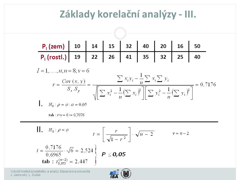 Vytvořil Institut biostatistiky a analýz, Masarykova univerzita J. Jarkovský, L. Dušek Základy korelační analýzy - III. P I (zem) 1014153240201650 P I