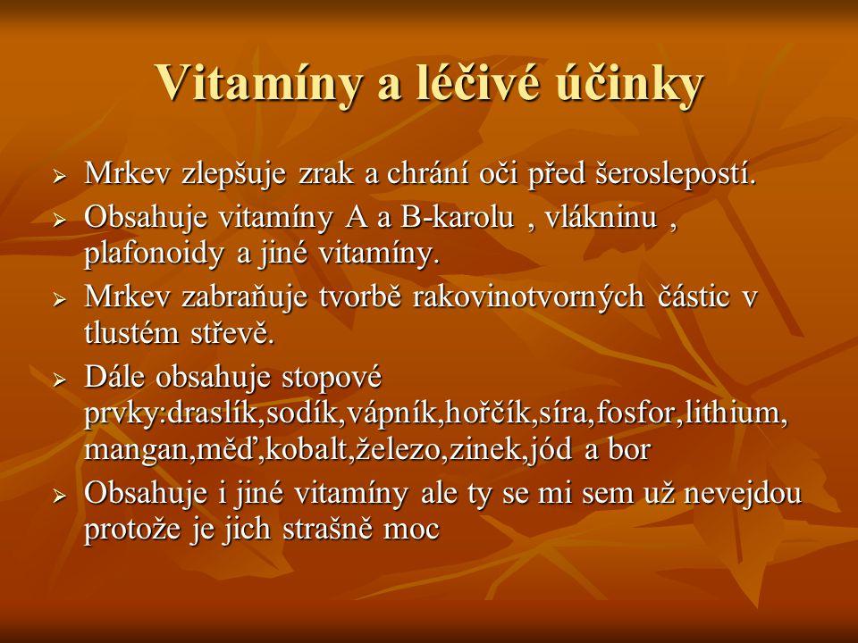 Vitamíny a léčivé účinky  Mrkev zlepšuje zrak a chrání oči před šeroslepostí.