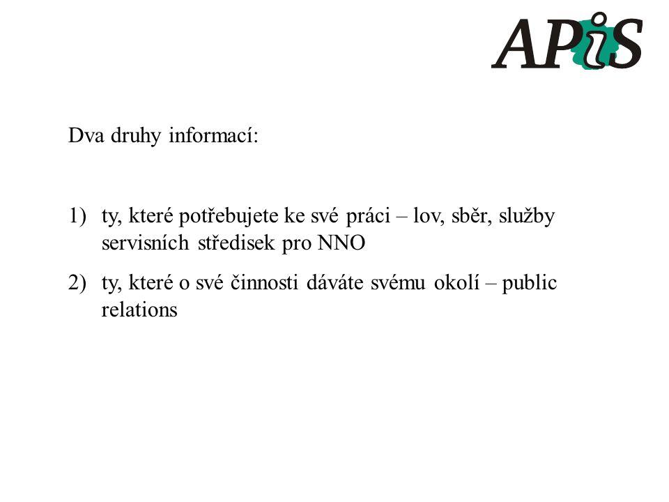 Dva druhy informací: 1)ty, které potřebujete ke své práci – lov, sběr, služby servisních středisek pro NNO 2)ty, které o své činnosti dáváte svému okolí – public relations