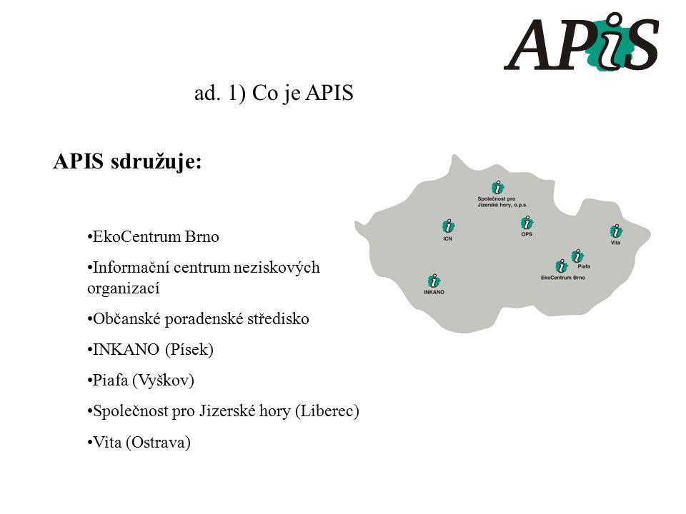 ad. 1) Co je APIS APIS sdružuje: EkoCentrum Brno Informační centrum neziskových organizací Občanské poradenské středisko INKANO (Písek) Piafa (Vyškov)