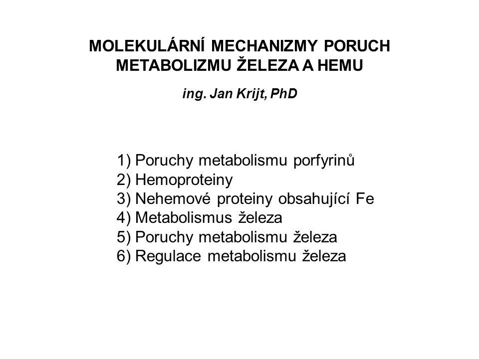 Poruchy metabolismu železa 2) nedostatek železa v organismu - sideropenie Anémie z nedostatku železa nejběžnější anémie - pokles sérového ferritinu (odráží pokles zásob železa) -pokles plasmatického železa -kompenzační zvýšení množství transferrinu v plasmě = zvýšení TIBC = pokles saturace transferrinu pod 15 %