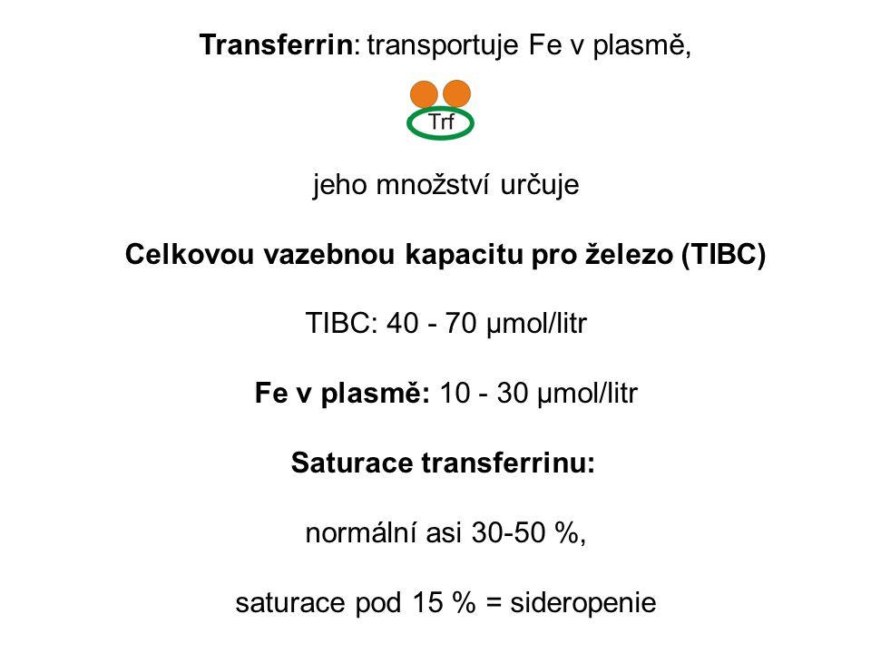 Transferrin: transportuje Fe v plasmě, jeho množství určuje Celkovou vazebnou kapacitu pro železo (TIBC) TIBC: 40 - 70 μmol/litr Fe v plasmě: 10 - 30 μmol/litr Saturace transferrinu: normální asi 30-50 %, saturace pod 15 % = sideropenie
