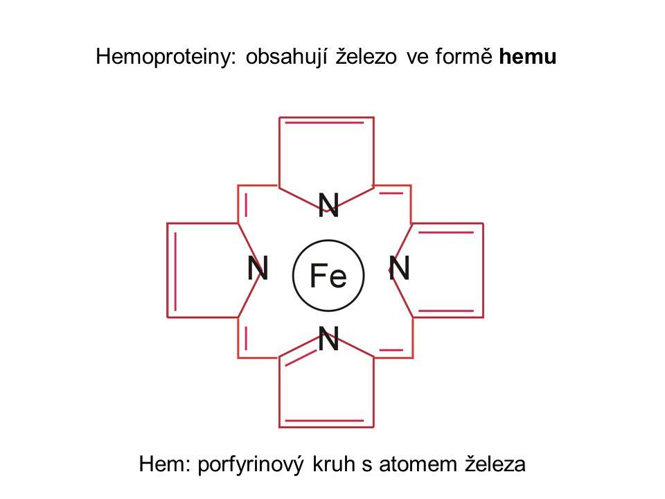 Hemoproteiny Cytochromy dýchacího řetězce mitochondrií Hemoglobin: asi 2.5 gramu železa Myoglobin: asi 0.3 gramu železa Cytochrom P450: Jaterní hemoprotein Detoxifikace cizorodých látek Indukuje se po podání cizorodé látky (fenobarbital) Indukce cytochromu P450 příčina lékových interakcí