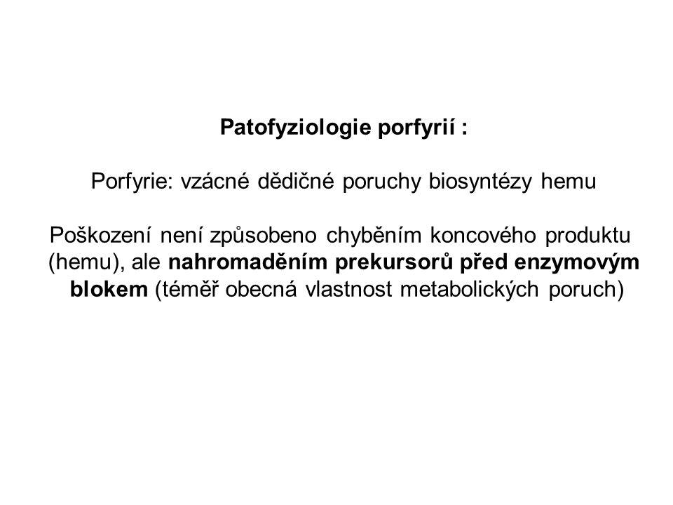 Patofyziologie porfyrií : Porfyrie: vzácné dědičné poruchy biosyntézy hemu Poškození není způsobeno chyběním koncového produktu (hemu), ale nahromaděním prekursorů před enzymovým blokem (téměř obecná vlastnost metabolických poruch)