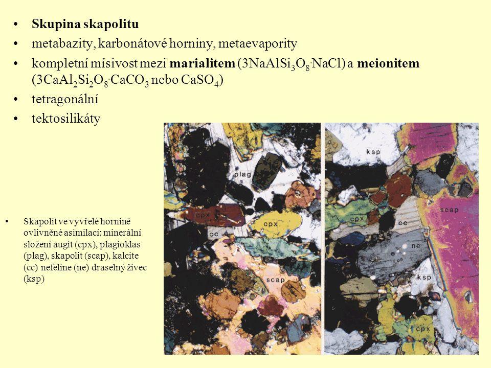 Skupina skapolitu metabazity, karbonátové horniny, metaevapority kompletní mísivost mezi marialitem (3NaAlSi 3 O 8. NaCl) a meionitem (3CaAl 2 Si 2 O