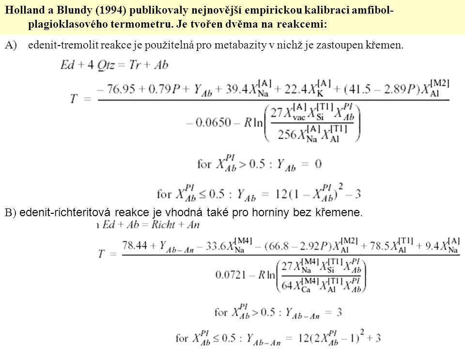 Holland a Blundy (1994) publikovaly nejnovější empirickou kalibraci amfibol- plagioklasového termometru. Je tvořen dvěma na reakcemi: A)edenit-tremoli