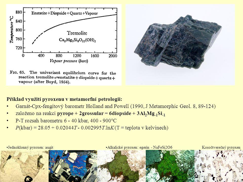 Příklad využití pyroxenu v metamorfní petrologii: Garnát-Cpx-fengitový barometr Holland and Powell (1990, J Metamorphic Geol. 8, 89-124) založeno na r