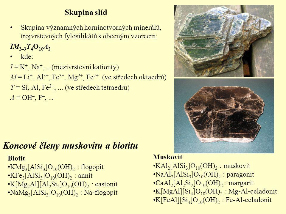 Skupina slíd Skupina významných horninotvorných minerálů, trojvrstevných fylosilikátů s obecným vzorcem: IM 2–3 T 4 O 10 A 2 kde: I = K +, Na +,...(me