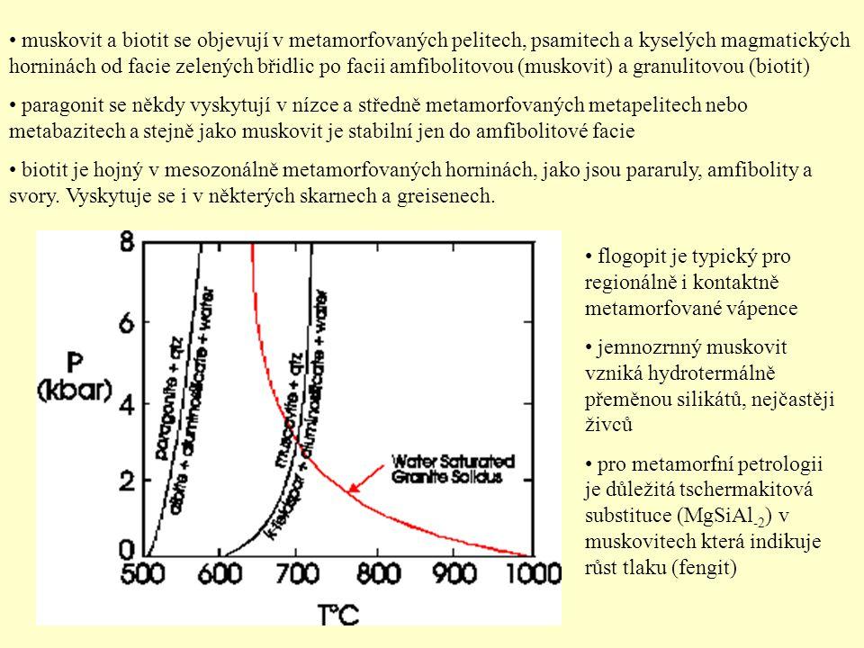 muskovit a biotit se objevují v metamorfovaných pelitech, psamitech a kyselých magmatických horninách od facie zelených břidlic po facii amfibolitovou