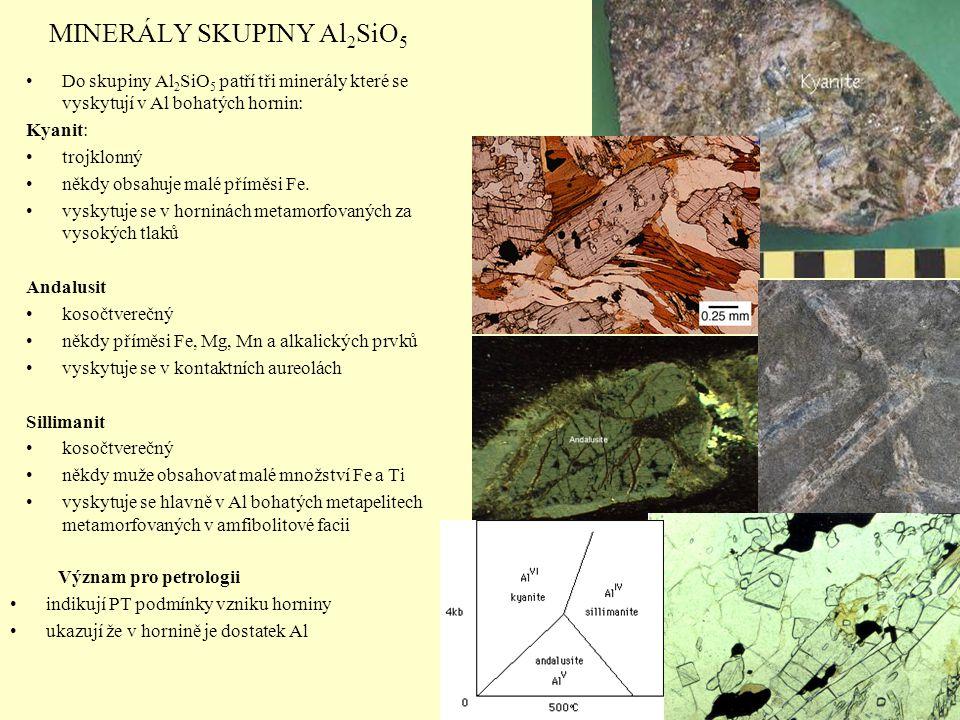 MINERÁLY SKUPINY Al 2 SiO 5 Do skupiny Al 2 SiO 5 patří tři minerály které se vyskytují v Al bohatých hornin: Kyanit: trojklonný někdy obsahuje malé p