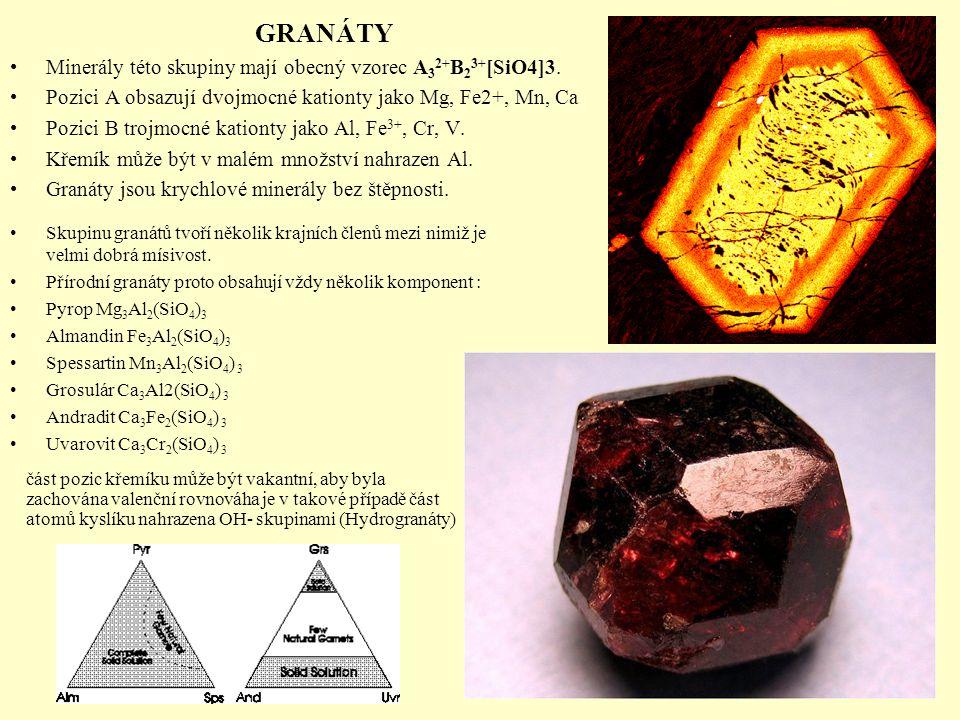 GRANÁTY Minerály této skupiny mají obecný vzorec A 3 2+ B 2 3+ [SiO4]3. Pozici A obsazují dvojmocné kationty jako Mg, Fe2+, Mn, Ca Pozici B trojmocné