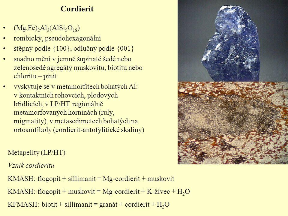 Cordierit (Mg,Fe) 2 Al 3 (AlSi 5 O 18 ) rombický, pseudohexagonální štěpný podle {100}, odlučný podle {001} snadno mění v jemně šupinaté šedé nebo zel