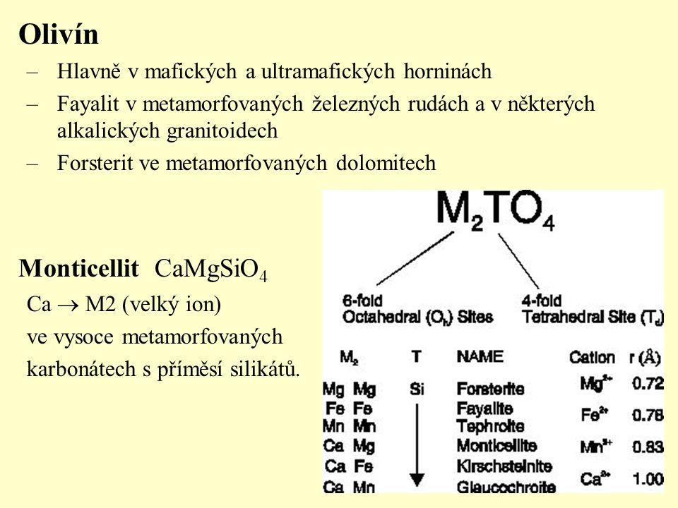 Olivín –Hlavně v mafických a ultramafických horninách –Fayalit v metamorfovaných železných rudách a v některých alkalických granitoidech –Forsterit ve