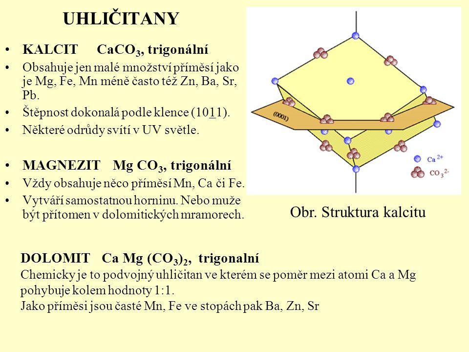KALCIT CaCO 3, trigonální Obsahuje jen malé množství příměsí jako je Mg, Fe, Mn méně často též Zn, Ba, Sr, Pb. Štěpnost dokonalá podle klence (1011).