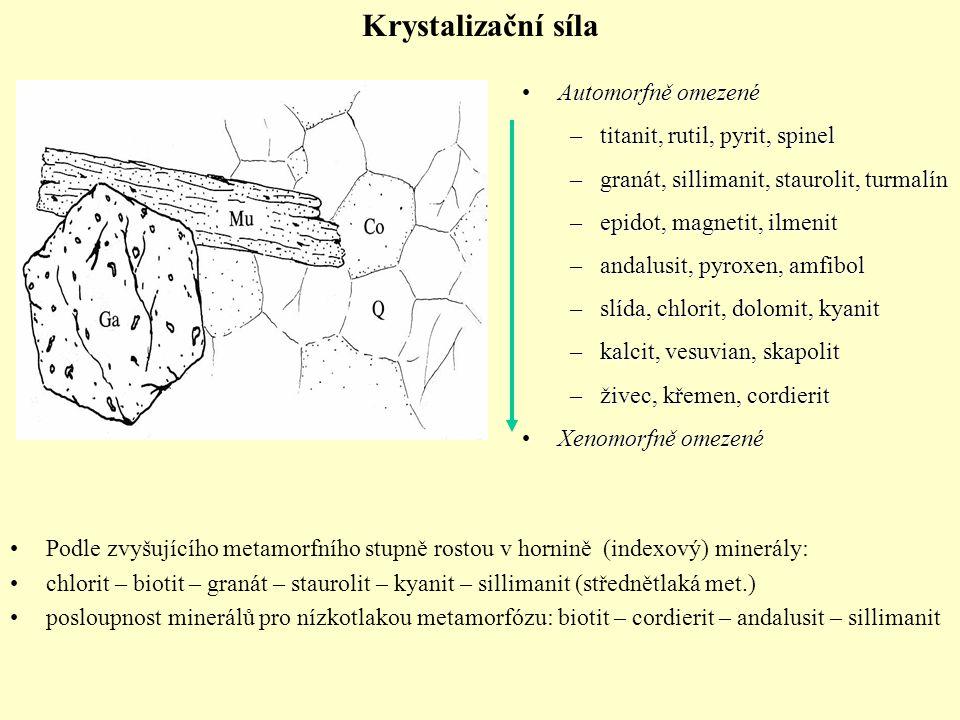 Automorfně omezenéAutomorfně omezené –titanit, rutil, pyrit, spinel –granát, sillimanit, staurolit, turmalín –epidot, magnetit, ilmenit –andalusit, py