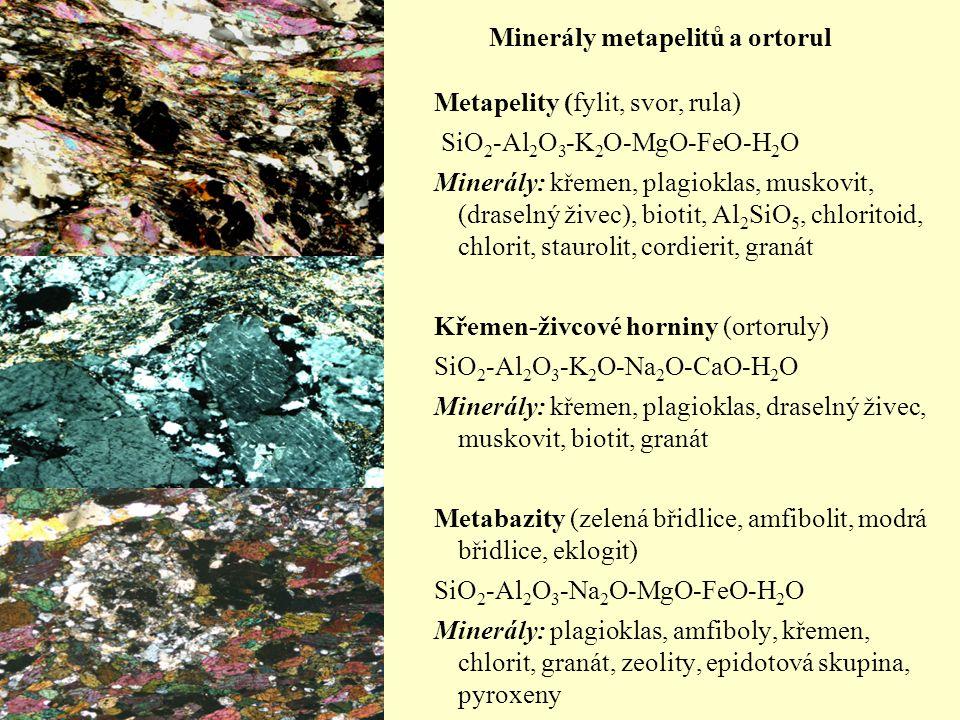 Minerály hornin bohatých na Ca a Mg Vápenatosilikátové horniny SiO 2 -Al 2 O 3 -K 2 O-CaO-MgO-H 2 O Metakarbonáty MgO-CaO-CO 2 -H 2 O Křemité dolomity MgO-CaO-SiO 2 -CO 2 -H 2 O Ultramafity SiO 2 -MgO-CaO-CO 2 -H 2 O Minerály: pyroxeny, vesuvian, granát, Ca-Mg amfiboly, olivín, wollastonit, minerály serpentinové skupiny, (křemen, plagioklas), spinelidy.