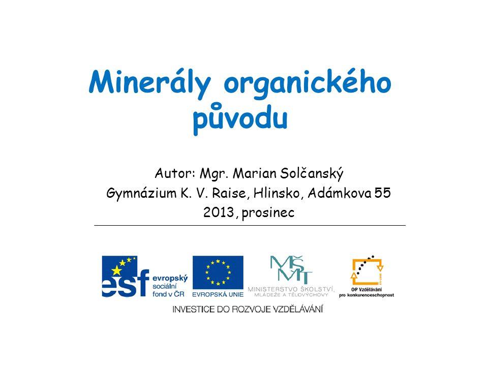 Minerály organického původu Autor: Mgr. Marian Solčanský Gymnázium K. V. Raise, Hlinsko, Adámkova 55 2013, prosinec