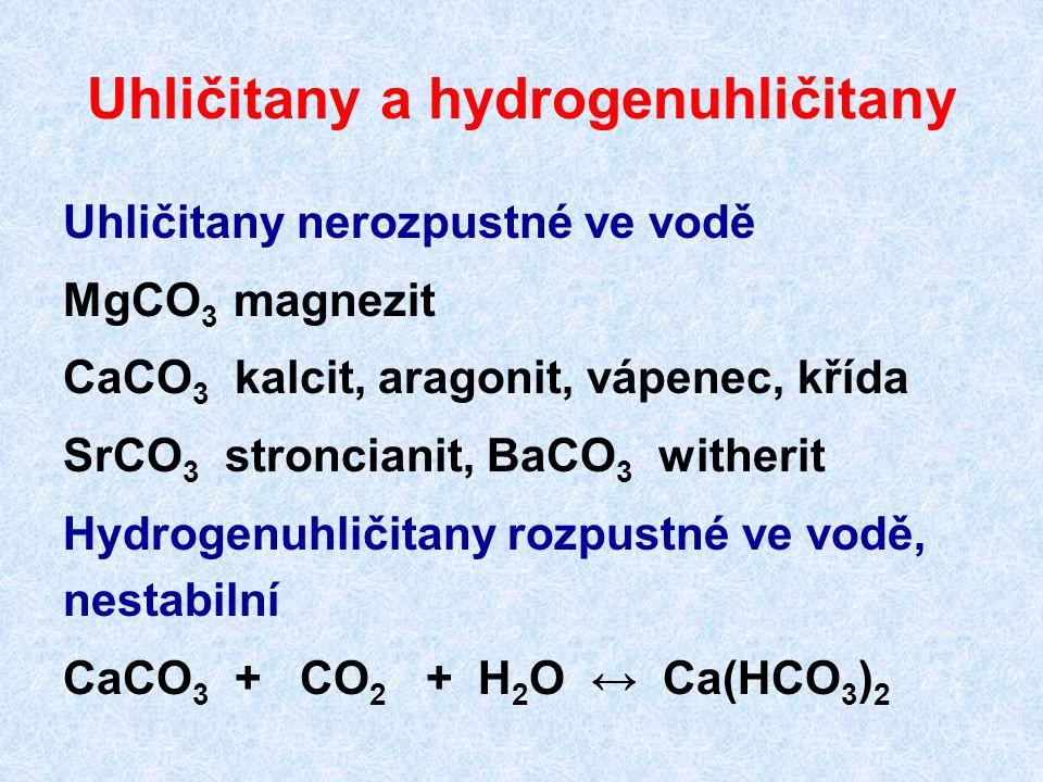 Uhličitany a hydrogenuhličitany Uhličitany nerozpustné ve vodě MgCO 3 magnezit CaCO 3 kalcit, aragonit, vápenec, křída SrCO 3 stroncianit, BaCO 3 witherit Hydrogenuhličitany rozpustné ve vodě, nestabilní CaCO 3 + CO 2 + H 2 O ↔ Ca(HCO 3 ) 2