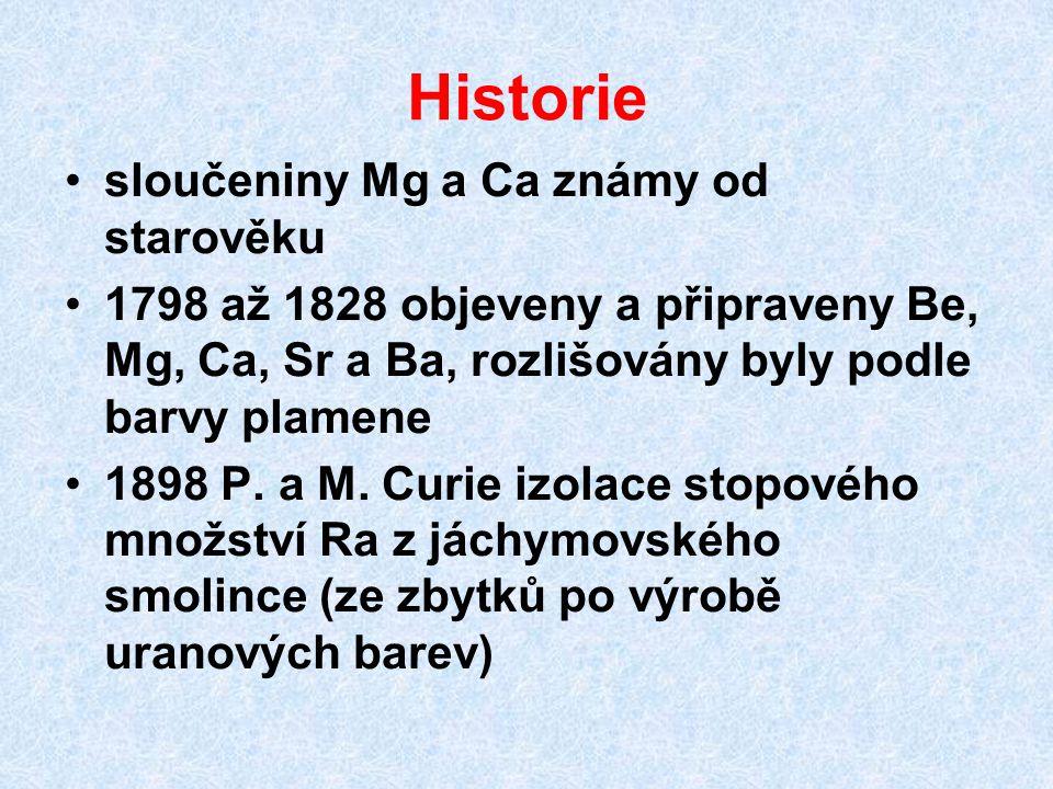 Historie sloučeniny Mg a Ca známy od starověku 1798 až 1828 objeveny a připraveny Be, Mg, Ca, Sr a Ba, rozlišovány byly podle barvy plamene 1898 P.