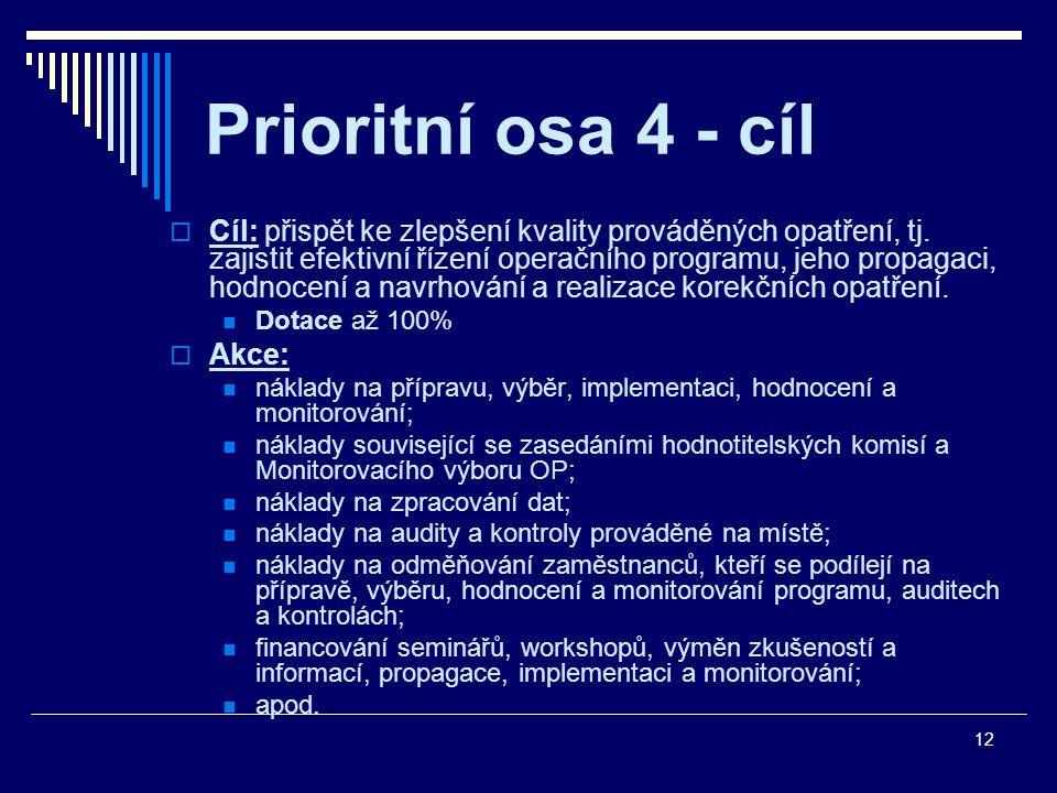 12 Prioritní osa 4 - cíl  Cíl: přispět ke zlepšení kvality prováděných opatření, tj.