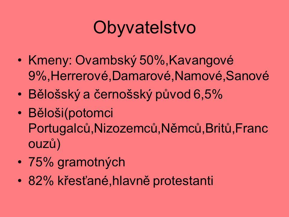 Obyvatelstvo Kmeny: Ovambský 50%,Kavangové 9%,Herrerové,Damarové,Namové,Sanové Bělošský a černošský původ 6,5% Běloši(potomci Portugalců,Nizozemců,Němců,Britů,Franc ouzů) 75% gramotných 82% křesťané,hlavně protestanti