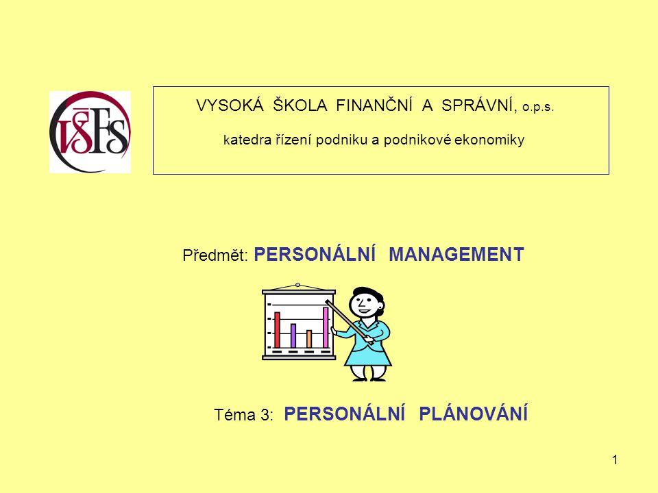 1 VYSOKÁ ŠKOLA FINANČNÍ A SPRÁVNÍ, o.p.s. k atedra řízení podniku a podnikové ekonomiky Předmět: PERSONÁLNÍ MANAGEMENT Téma 3: PERSONÁLNÍ PLÁNOVÁNÍ