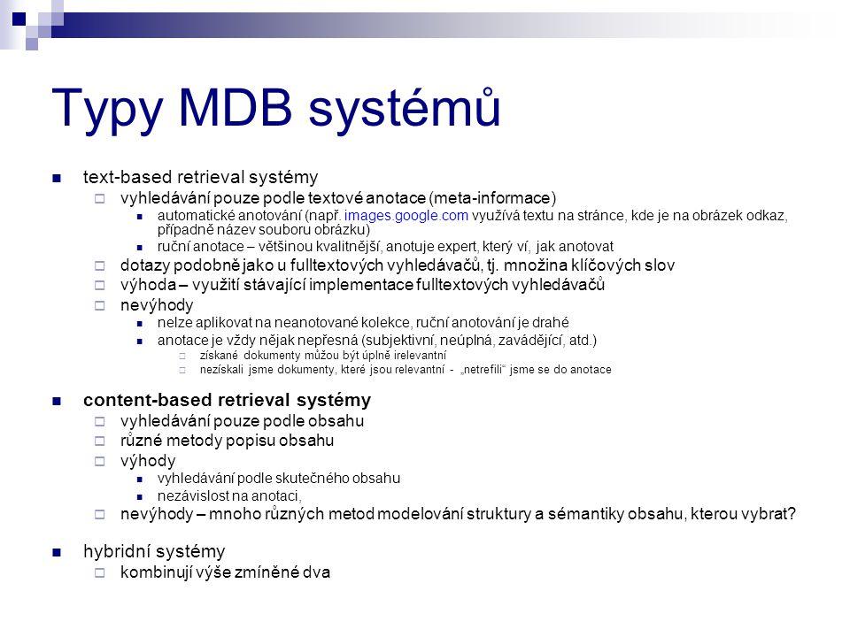 Typy MDB systémů text-based retrieval systémy  vyhledávání pouze podle textové anotace (meta-informace) automatické anotování (např. images.google.co
