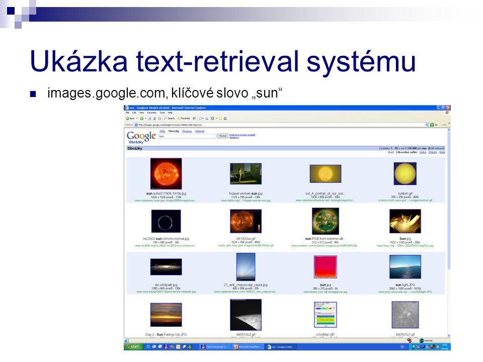 """Ukázka text-retrieval systému images.google.com, klíčové slovo """"sun"""