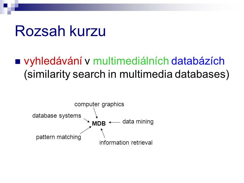 O čem to bude podobnostní vyhledávání (content-based similarity retrieval) query-by-example dotazy extrakce vlastností základní metody rychlého a kvalitního vyhledávání některé aplikace