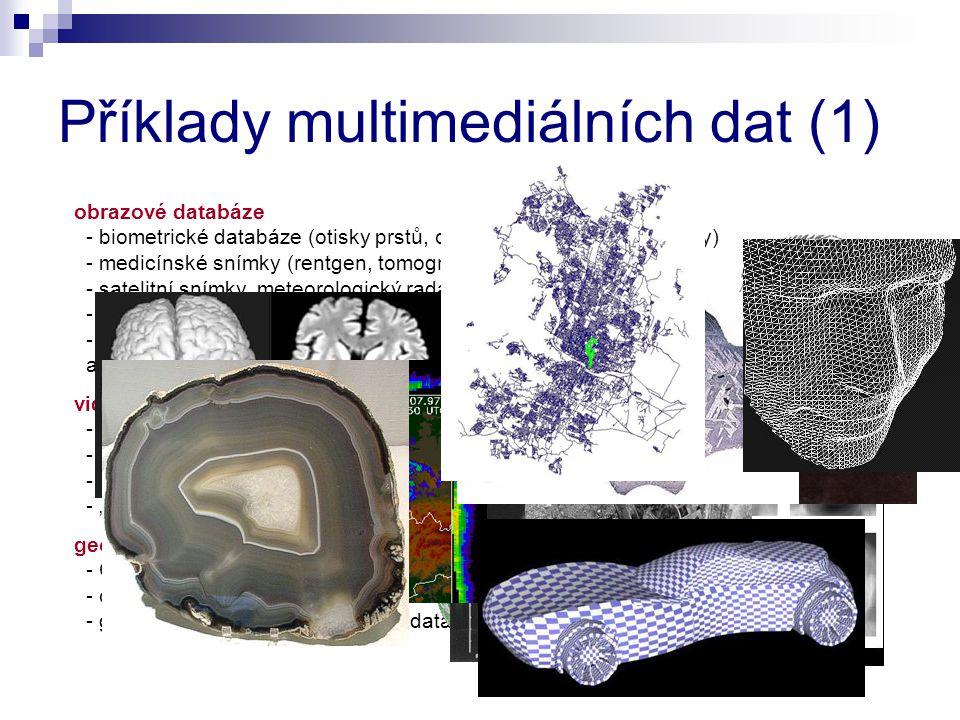 obrazové databáze - biometrické databáze (otisky prstů, oční duhovky, obličejové rysy) - medicínské snímky (rentgen, tomografie, ultrazvuk, atd.) - satelitní snímky, meteorologický radar - snímky materiálových řezů - heterogenní kolekce (web) a mnoho dalších...