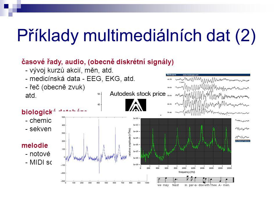 časové řady, audio, (obecně diskrétní signály) - vývoj kurzů akcií, měn, atd. - medicínská data - EEG, EKG, atd. - řeč (obecně zvuk) atd. biologické d