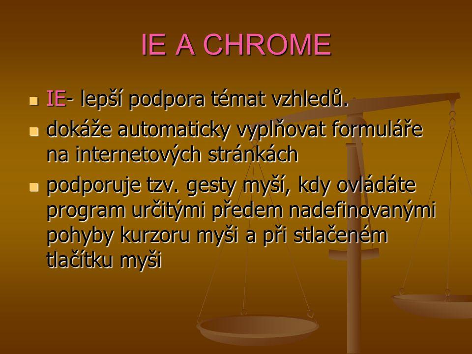 IE A CHROME IE- lepší podpora témat vzhledů. IE- lepší podpora témat vzhledů. dokáže automaticky vyplňovat formuláře na internetových stránkách dokáže
