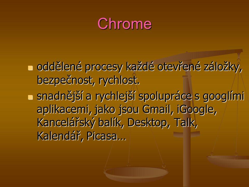 Chrome oddělené procesy každé otevřené záložky, bezpečnost, rychlost.