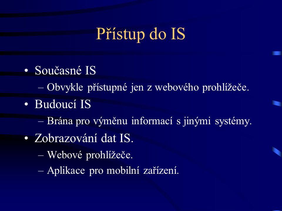 Přístup do IS Současné IS –Obvykle přístupné jen z webového prohlížeče.