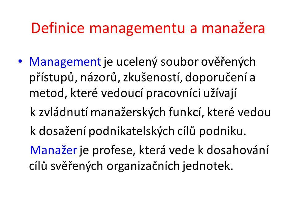 Definice managementu a manažera Management je ucelený soubor ověřených přístupů, názorů, zkušeností, doporučení a metod, které vedoucí pracovníci užívají k zvládnutí manažerských funkcí, které vedou k dosažení podnikatelských cílů podniku.