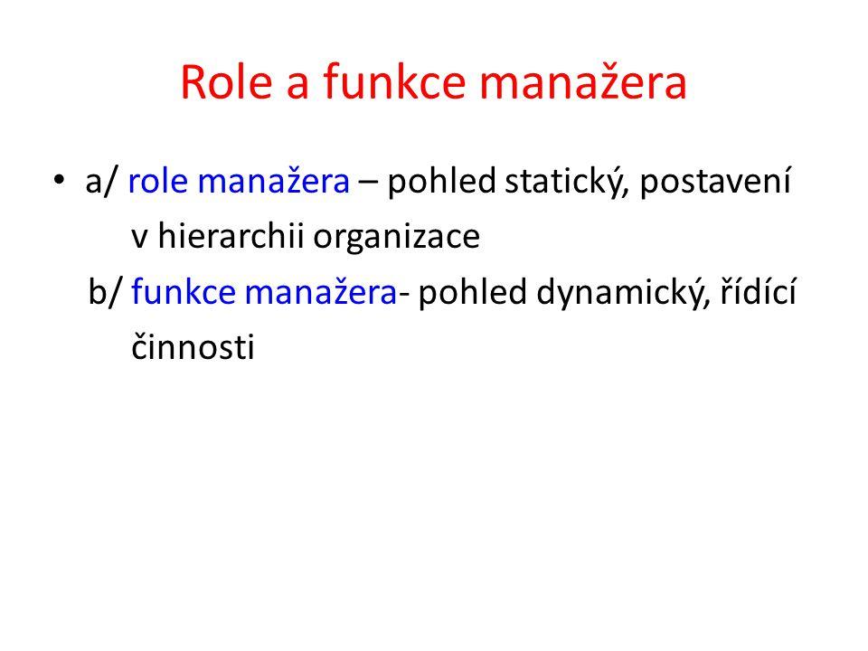 Role a funkce manažera a/ role manažera – pohled statický, postavení v hierarchii organizace b/ funkce manažera- pohled dynamický, řídící činnosti
