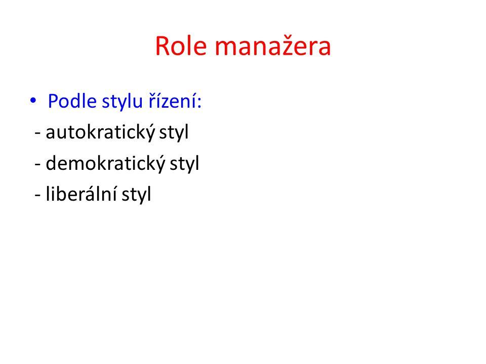 Role manažera Podle stylu řízení: - autokratický styl - demokratický styl - liberální styl