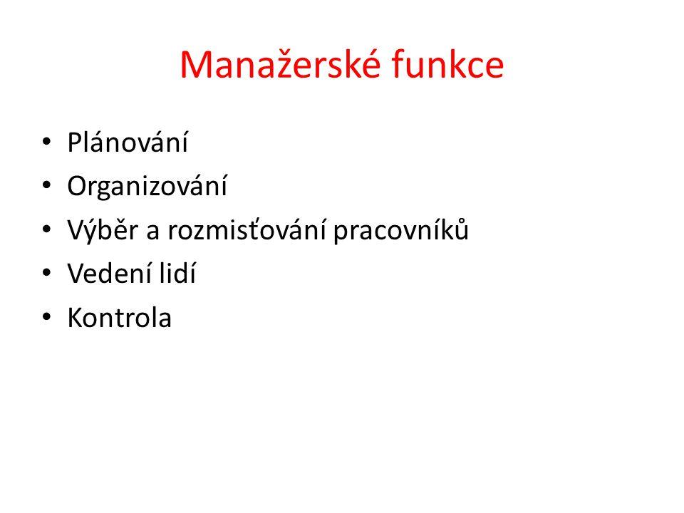 Manažerské funkce Plánování Organizování Výběr a rozmisťování pracovníků Vedení lidí Kontrola