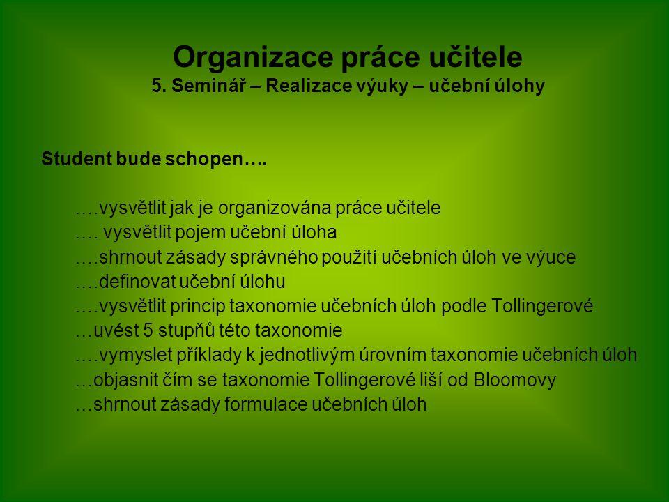Student bude schopen….….vysvětlit jak je organizována práce učitele ….