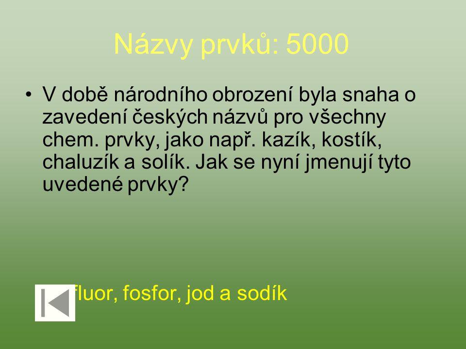 Názvy prvků: 5000 V době národního obrození byla snaha o zavedení českých názvů pro všechny chem. prvky, jako např. kazík, kostík, chaluzík a solík. J