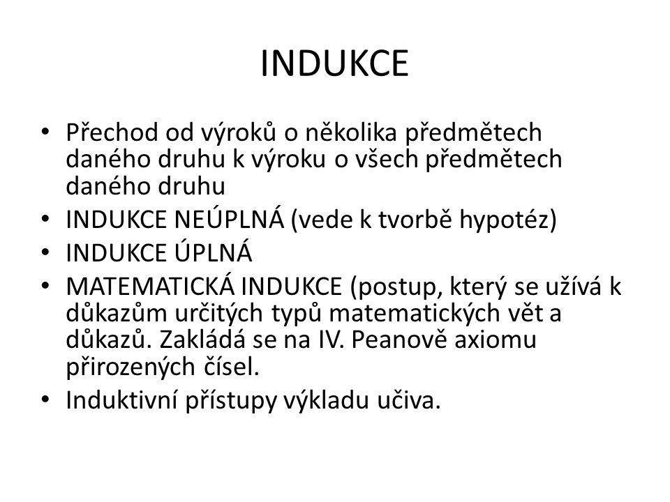 INDUKCE Přechod od výroků o několika předmětech daného druhu k výroku o všech předmětech daného druhu INDUKCE NEÚPLNÁ (vede k tvorbě hypotéz) INDUKCE ÚPLNÁ MATEMATICKÁ INDUKCE (postup, který se užívá k důkazům určitých typů matematických vět a důkazů.