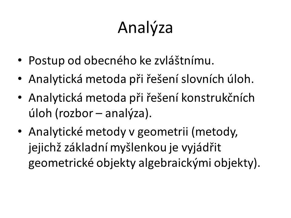 Analýza Postup od obecného ke zvláštnímu.Analytická metoda při řešení slovních úloh.