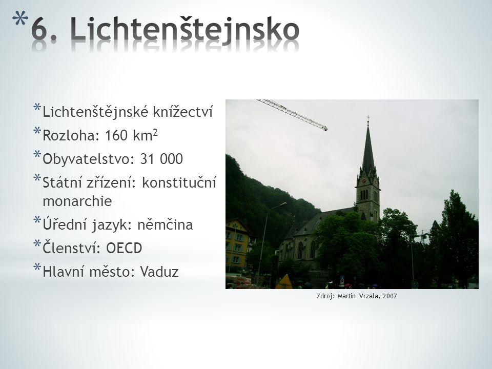 * Lichtenštějnské knížectví * Rozloha: 160 km 2 * Obyvatelstvo: 31 000 * Státní zřízení: konstituční monarchie * Úřední jazyk: němčina * Členství: OEC