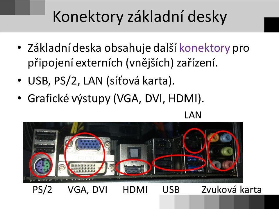Konektory základní desky Základní deska obsahuje další konektory pro připojení externích (vnějších) zařízení. USB, PS/2, LAN (síťová karta). Grafické