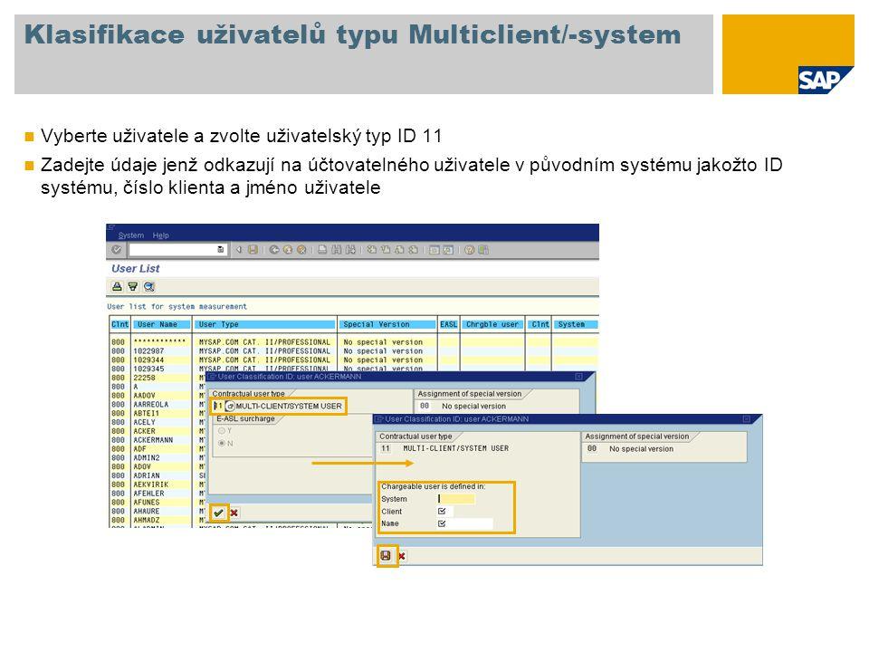 Klasifikace uživatelů typu Multiclient/-system Vyberte uživatele a zvolte uživatelský typ ID 11 Zadejte údaje jenž odkazují na účtovatelného uživatele v původním systému jakožto ID systému, číslo klienta a jméno uživatele