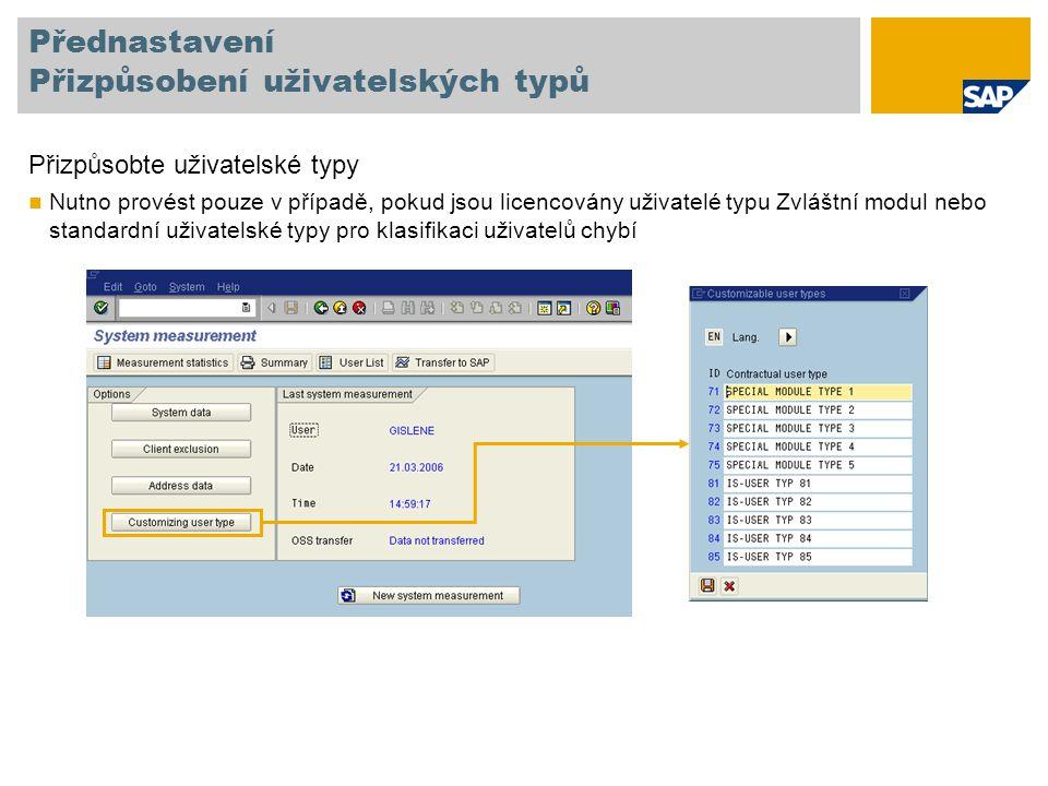 Přednastavení Přizpůsobení uživatelských typů Přizpůsobte uživatelské typy Nutno provést pouze v případě, pokud jsou licencovány uživatelé typu Zvláštní modul nebo standardní uživatelské typy pro klasifikaci uživatelů chybí