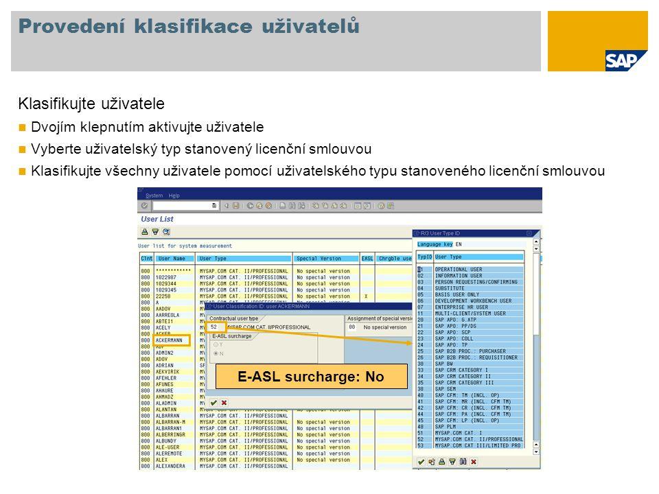 Provedení klasifikace uživatelů Klasifikujte uživatele Dvojím klepnutím aktivujte uživatele Vyberte uživatelský typ stanovený licenční smlouvou Klasifikujte všechny uživatele pomocí uživatelského typu stanoveného licenční smlouvou E-ASL surcharge: No