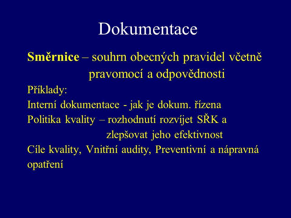 Dokumentace Směrnice – souhrn obecných pravidel včetně pravomocí a odpovědnosti Příklady: Interní dokumentace - jak je dokum. řízena Politika kvality