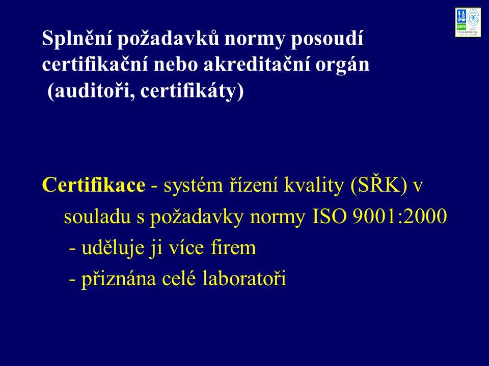 Splnění požadavků normy posoudí certifikační nebo akreditační orgán (auditoři, certifikáty) Certifikace - systém řízení kvality (SŘK) v souladu s poža