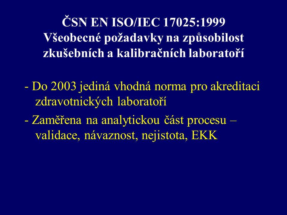 ČSN EN ISO/IEC 17025:1999 Všeobecné požadavky na způsobilost zkušebních a kalibračních laboratoří - Do 2003 jediná vhodná norma pro akreditaci zdravot